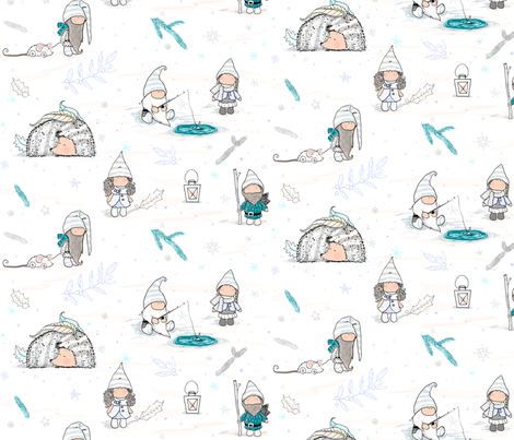 Snowy gnomes fabric by agneslovedesign on Spoonflower - custom fabric