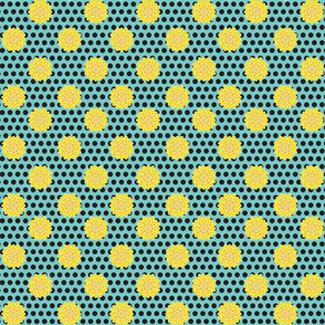 Yellow Chrysanthemums and Onyx Polka Dots