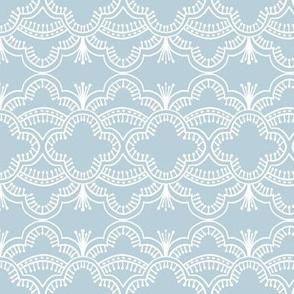 Scallop Lace Silver Blue Mirrored