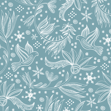 Lace Dove and Snowflakes fabric by jill_o_connor on Spoonflower - custom fabric