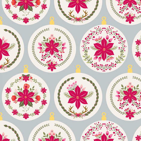 boule_de_noel_poinsettia_gris_M fabric by nadja_petremand on Spoonflower - custom fabric