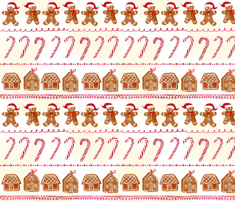Gingerbread and candy cane fabric by ohn_mar_win on Spoonflower - custom fabric