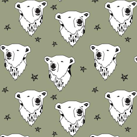 polar bear // artichoke green polar bear boys fabric arctic animals endangered animal fabric cute polar bear designs by andrea lauren fabric by andrea_lauren on Spoonflower - custom fabric
