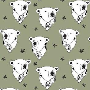 polar bear // artichoke green polar bear boys fabric arctic animals endangered animal fabric cute polar bear designs by andrea lauren