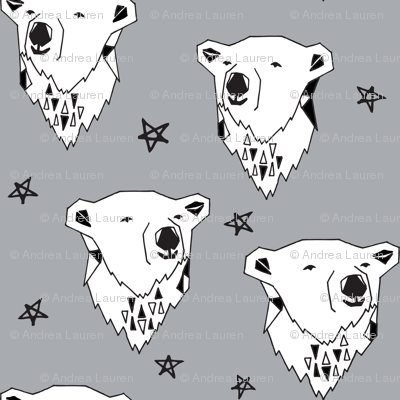 polar bear // cute winter polar bear grey fabric nursery baby winter animals