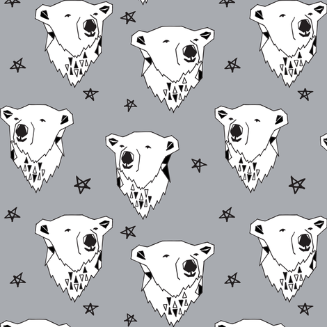 polar bear // cute winter polar bear grey fabric nursery baby winter animals fabric by andrea_lauren on Spoonflower - custom fabric