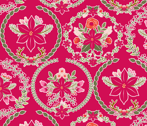 poinsettia_couronne_rouge_L fabric by nadja_petremand on Spoonflower - custom fabric