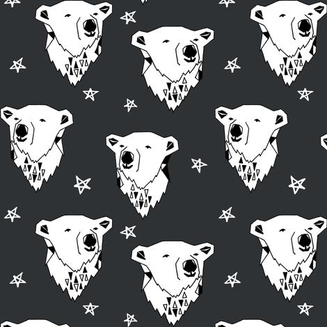 polar bear // charcoal dark grey nursery fabric endangered animal fabric winter fabric bears fabric fabric by andrea_lauren on Spoonflower - custom fabric