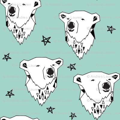 polar bear // polar bear  mint fabric mint nursery fabric cute bears fabric baby fabric polar bear design arctic animals andrea lauren
