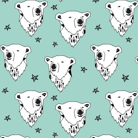 polar bear // polar bear  mint fabric mint nursery fabric cute bears fabric baby fabric polar bear design arctic animals andrea lauren fabric by andrea_lauren on Spoonflower - custom fabric