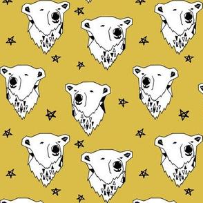 polar bear // mustard yellow fabric bear fabric arctic animals fabric cute polar bears endangered animal design