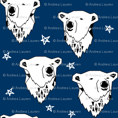 polar bear // navy blue polar bear fabric cute arctic winter animals print endangered animals design andrea lauren