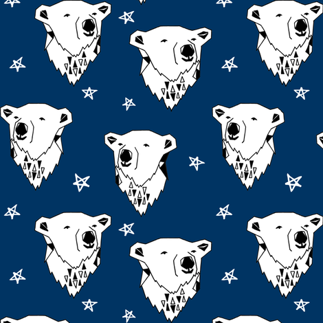 polar bear // navy blue polar bear fabric cute arctic winter animals print endangered animals design andrea lauren fabric by andrea_lauren on Spoonflower - custom fabric