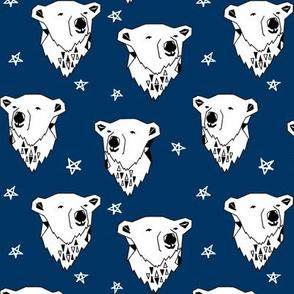 polar bear // navy blue polar bear fabric cute arctic winter animals print endangered animals design andrea lauren