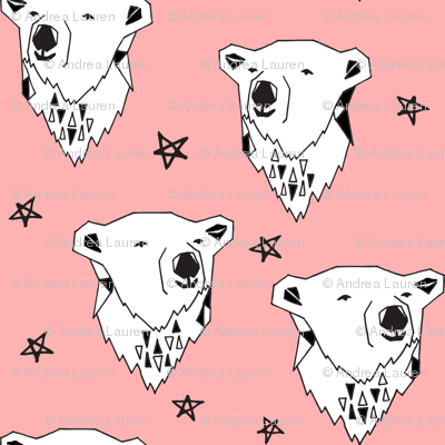 polar bear // pink polar bear fabric cute arctic bear black and white baby girl winter fabric bears