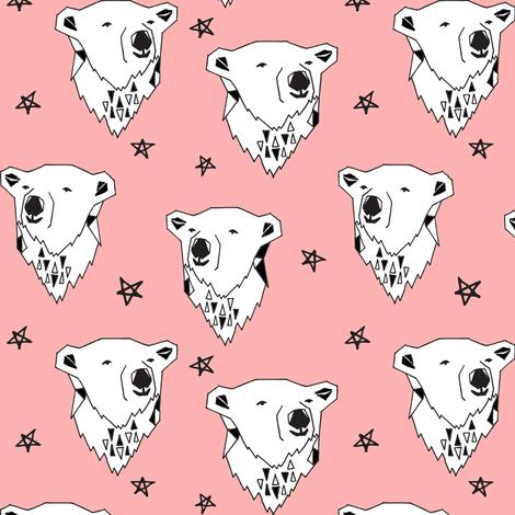 polar bear // pink polar bear fabric cute arctic bear black and white baby girl winter fabric bears fabric by andrea_lauren on Spoonflower - custom fabric