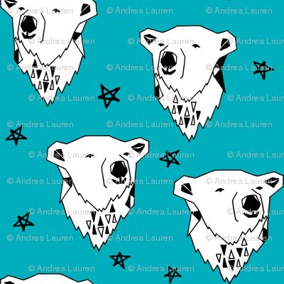 polar bear // turquoise aqua polar bear fabric cute winter bear andrea lauren