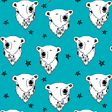 polar bear // turquoise aqua polar bear fabric cute winter bear andrea lauren fabric by andrea_lauren on Spoonflower - custom fabric