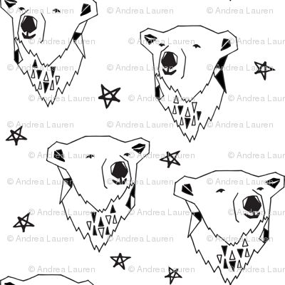 polar bear // black and white polar bear scandi fabric cute nursery baby design best polar bear fabrics