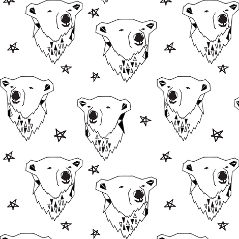polar bear // black and white polar bear scandi fabric cute nursery baby design best polar bear fabrics fabric by andrea_lauren on Spoonflower - custom fabric