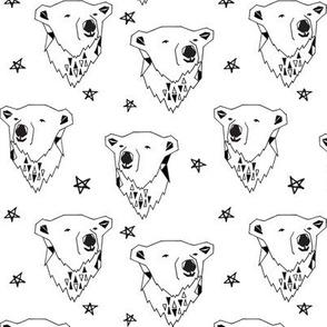 polar bear // black and white polar bear scandi fabric cute nursery baby design best polar bear fabrics