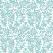 Lace Pattern in Aqua and White