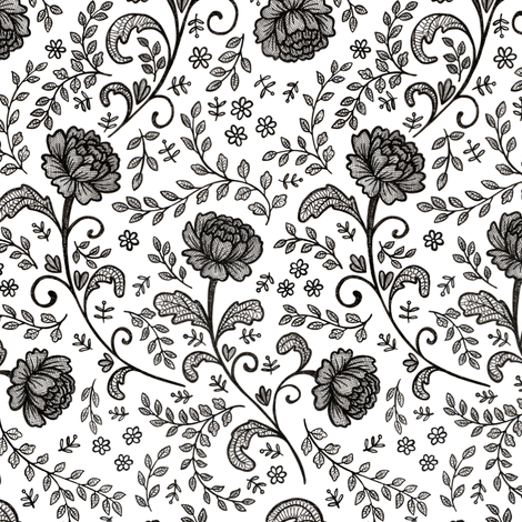 Lace Black on White fabric by hazel_fisher_creations on Spoonflower - custom fabric