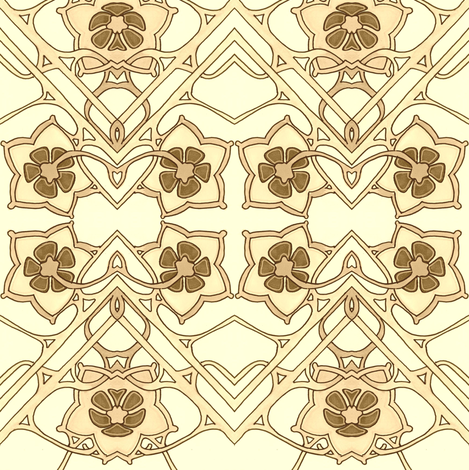 Sepia Flower Dance fabric by edsel2084 on Spoonflower - custom fabric