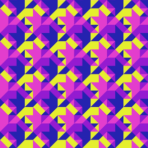 transparent houndstooth in blue, pink and yellow