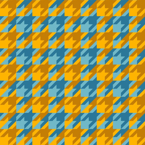 double houndstooth in aqua and gold
