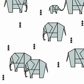 geo elephants - safari seafoam pale blue on white || by sunny afternoon