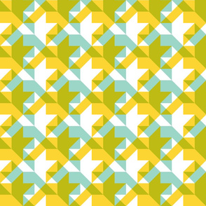 transparent houndstooth - yellow, wasabi, aqua and white