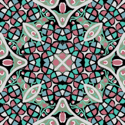 Kaleidoscope Rose Moss Turquoise