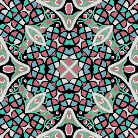 Kaleidoscope Rose Moss Turquoise fabric by eclectic_house on Spoonflower - custom fabric