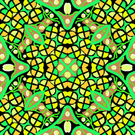 Kaleidoscope Yellow Green fabric by eclectic_house on Spoonflower - custom fabric