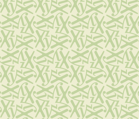 Letters - x  y z - green pastel fabric by zuzana_licko on Spoonflower - custom fabric