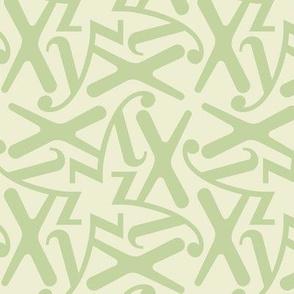 Letters - x  y z - green pastel