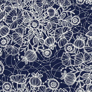 Wildflowers in Lace, Cobalt - ©Lucinda Wei