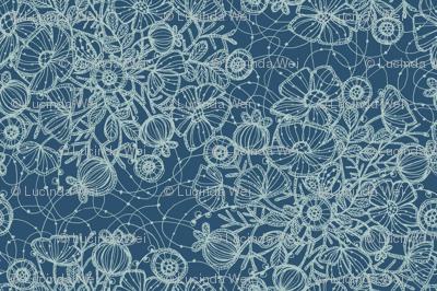 Wildflowers in Lace, Dusty Blue  - ©Lucinda Wei