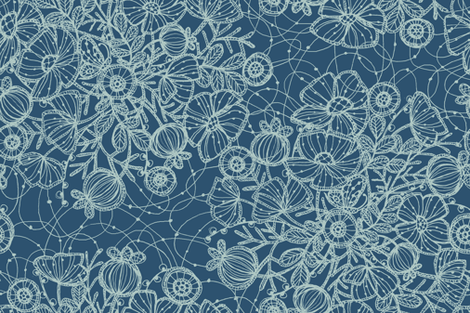 Wildflowers in Lace, Dusty Blue  - ©Lucinda Wei fabric by lucindawei on Spoonflower - custom fabric