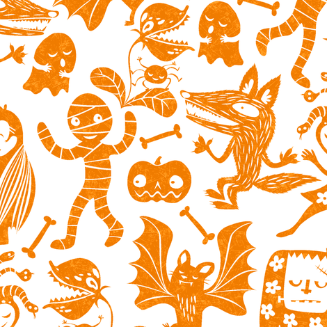 monsters-orange fabric by gaiamarfurt on Spoonflower - custom fabric