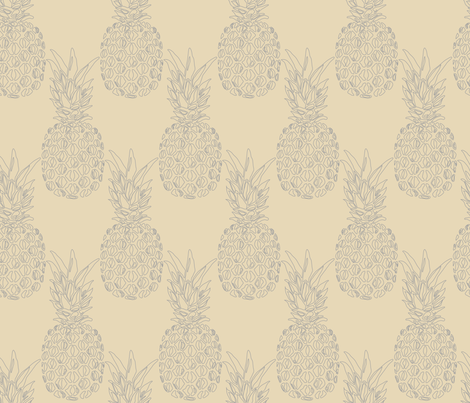 grey pineapples on creme fabric by claudiamaher on Spoonflower - custom fabric