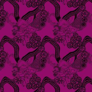 Healing Arts Heal Hearts, Black Lace on Purple, HAP 5 Large