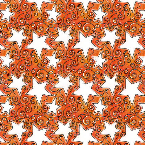 Project 96 | Stars on Sunset Orange Watercolor fabric by bohobear on Spoonflower - custom fabric