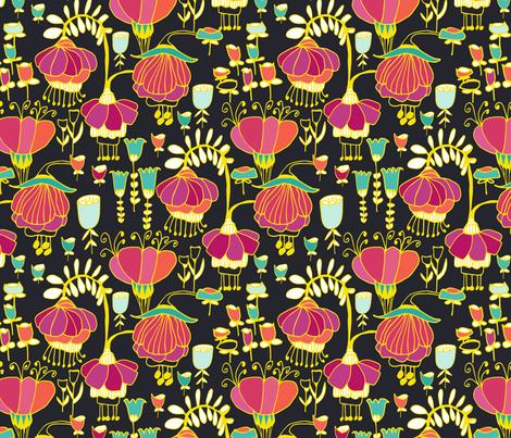 Fuchsia Garden  fabric by kirstenkatz on Spoonflower - custom fabric