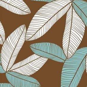 Plantation Leaves Chocolate Teal