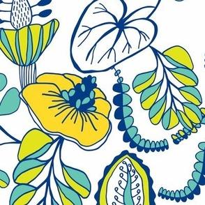 Summer Tropique Garden Blue & White