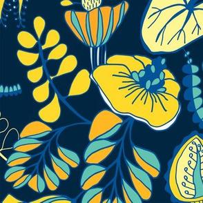 Summer Tropique Garden Navy Blue