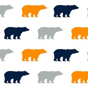 orange navy and grey bears, bear fabric, bear print, nursery design, nursery print, boys print