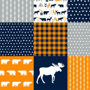 patchwork cheater quilt, quilt squares, orange navy and grey cheater fabrics